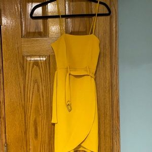 Belted yellow dress